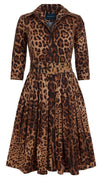 Audrey Dress #1_Safari Leopard in Camel Sepia_Cotton Stretch_Shirt Collar 3/4 Sleeve