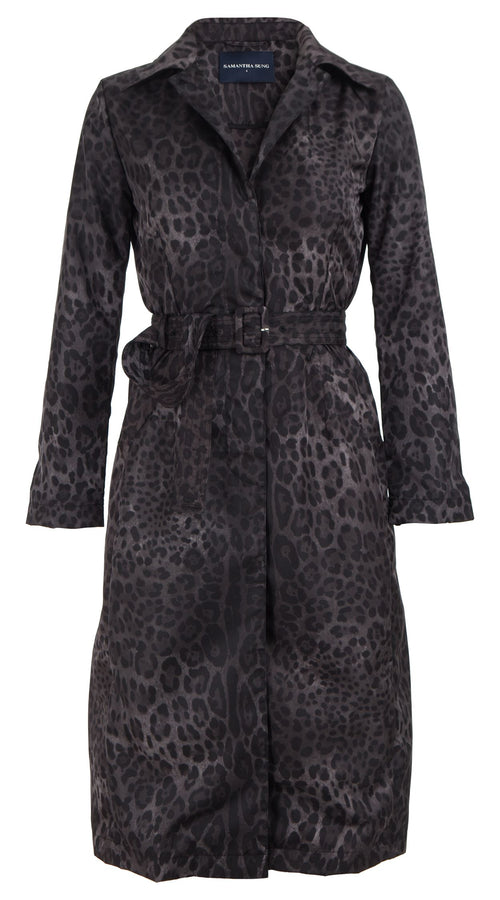 Parisienne Coat Long Sleeve Silk Cotton Ottoman (Safari Leopard Mini)