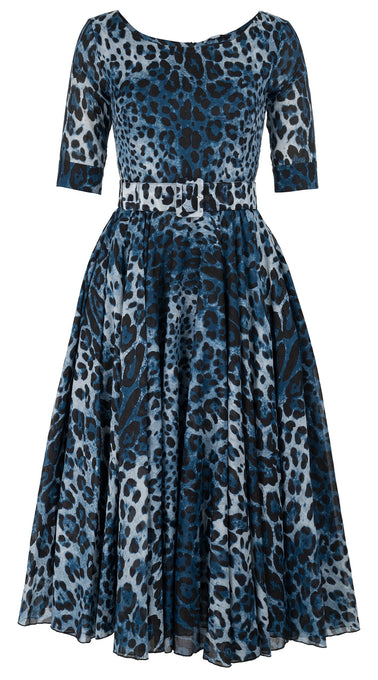 Aster Dress Boat Neck 1/2 Sleeve Midi Length_Cotton Musola_Safari Leopard_Indigo