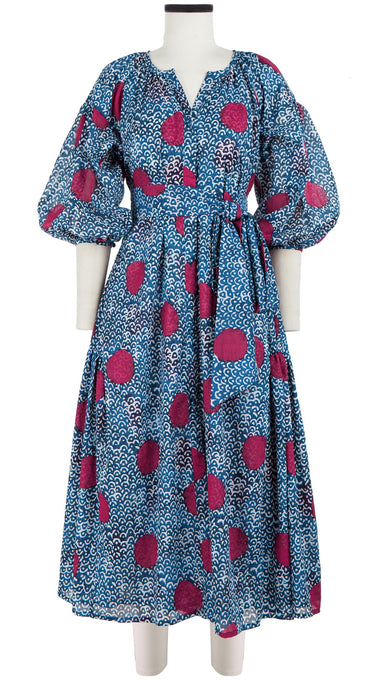 Nina Dress Crew Slit Neck 3/4 Sleeve Tea Length Cotton Musola (Samurai Dots)