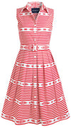 Audrey Dress #1_Santorini Stripe in White Indian Red_Cotton Stretch_Shirt Collar Sleeveless