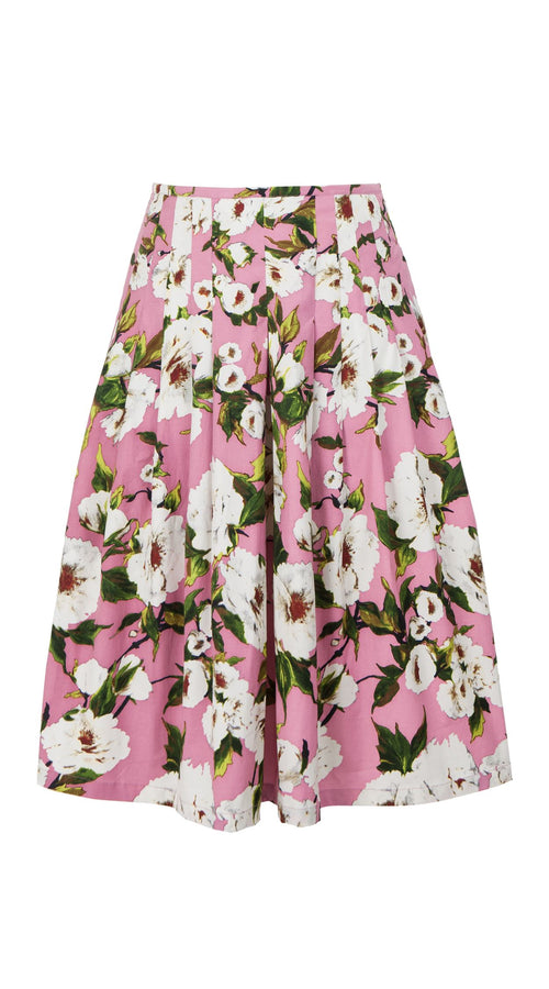 Zelda Skirt Long Length Cotton Stretch (Sharon Rose Bright)
