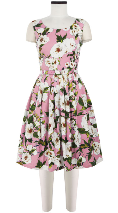 Rachel Dress Boat Neck Mini Cap Sleeve Cotton Stretch (Sharon Rose Bright)