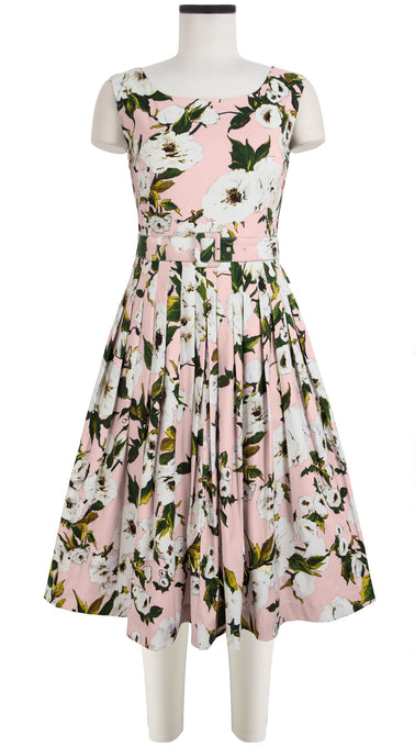 Florance Dress Boat Neck Sleeveless Cotton Stretch (Sharon Rose Pastel)