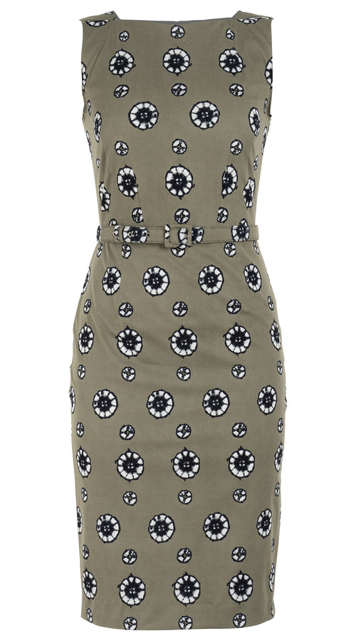 Celine Dress High Boat Neck Sleeveless Long Length Cotton Dobby Stretch (Shibori Dots Dark)