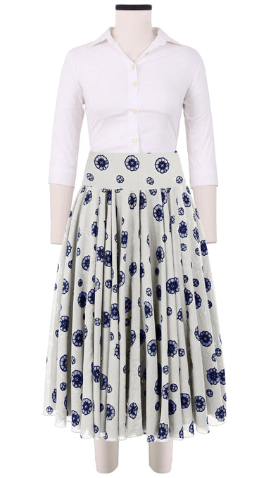 Aster Skirt with Yoke Cotton Musola (Shibori Dots Bright)