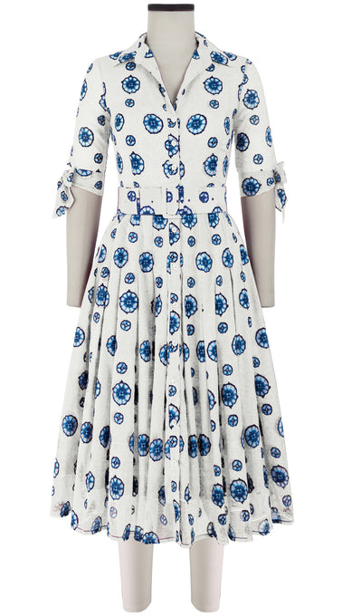 Audrey Dress #4 Shirt Collar 1/2 Sleeve Midi Length Cotton Musola (Shibori Dots Bright)