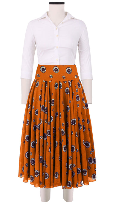 Aster Skirt with Yoke Cotton Musola (Shibori Dots Dark)