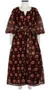 Nina Dress Crew Slit Neck 3/4 Sleeve Tea Length Cotton Musola (Shibori Dots Dark)