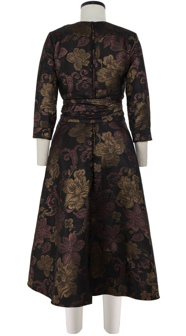 Deborah Dress Crew Neck 3/4 Sleeve Midi Length_Silk Poly Brocade_Sicilian Brocade_Black Bronze