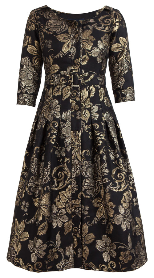 Audrey Dress #1 Boat Neck 3/4 Sleeve Midi Length Silk Poly Brocade (Sicilian Brocade)