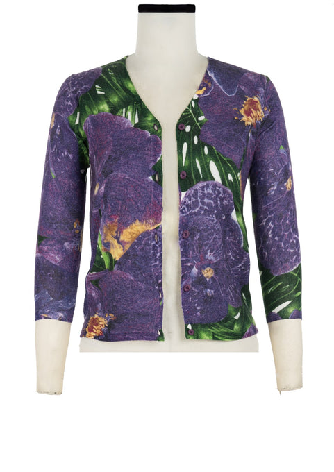 Charlotte Cardigan V Neck 3/4 Sleeve_70% Silk 30% Cashmere_Singapore Orchid_Green Purple