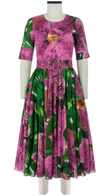 Aster Dress Crew Neck 1/2 Sleeve Midi Length Cotton Musola (Singapore Orchid)