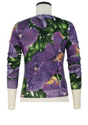 Charlotte Pullover Crew Neck 3/4 Sleeve_70% Silk 30% Cashmere_Singapore Orchid_Green Purple