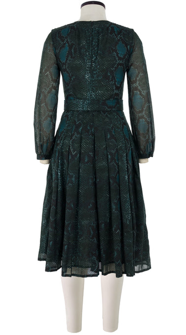 Florance Dress #4 Jewel Neck Long Puff Sleeve Long +3 Length Cotton Musola (Snake Skin)
