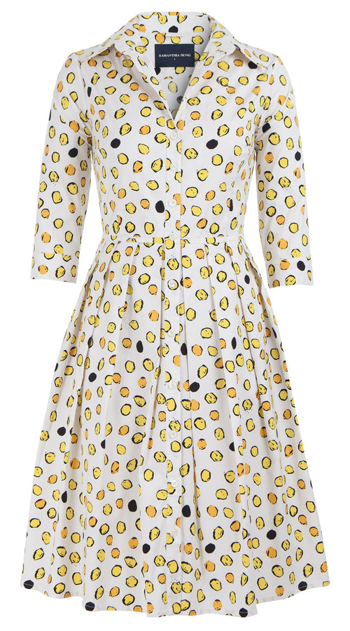Audrey Dress #1_Snow Dots in Lemon Yellow_Cotton Stretch_Shirt Collar 3/4 Sleeve