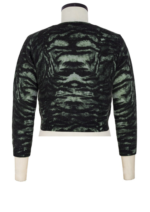 Colette Cardigan Short Crew Neck 3/4 Sleeve_100% Cashmere_Snow Tiger_Hunter Green