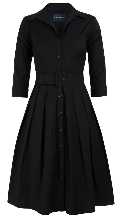 Audrey Dress #1 Shirt Collar 3/4 Sleeve Cotton Stretch_Solid_Black