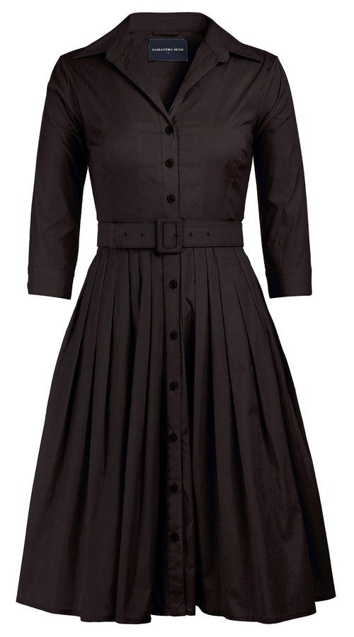 Audrey Dress #2 Shirt Collar 3/4 Sleeve Cotton Stretch_Solid_Black