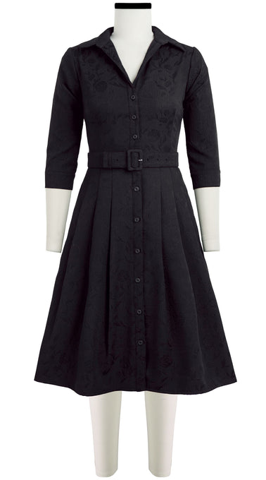 Audrey Dress #3 Shirt Collar 3/4 Sleeve Silk Poly Jacquard (Solid Jacquard Dark)