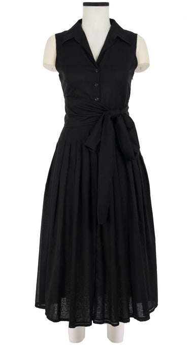 Avery Dress #2 Shirt Collar Sleeveless Midi Length Cotton Musola_Solid_Black
