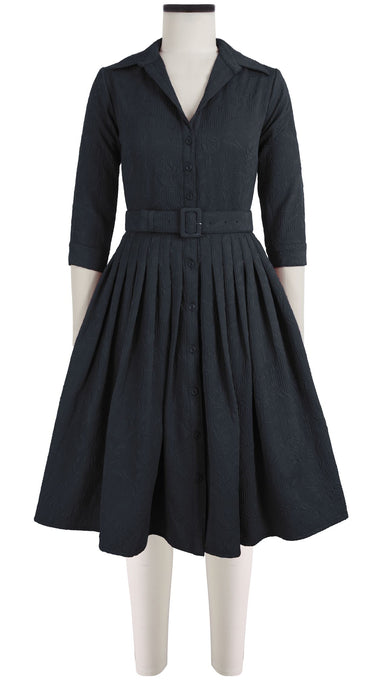 Audrey Dress #2 Shirt Collar 3/4 Sleeve Silk Poly Jacquard (Solid Jacquard Dark)