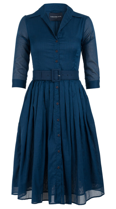 Audrey Dress #2 Shirt Collar 3/4 Sleeve Long Length Cotton Musola_Solid_Denim Blue