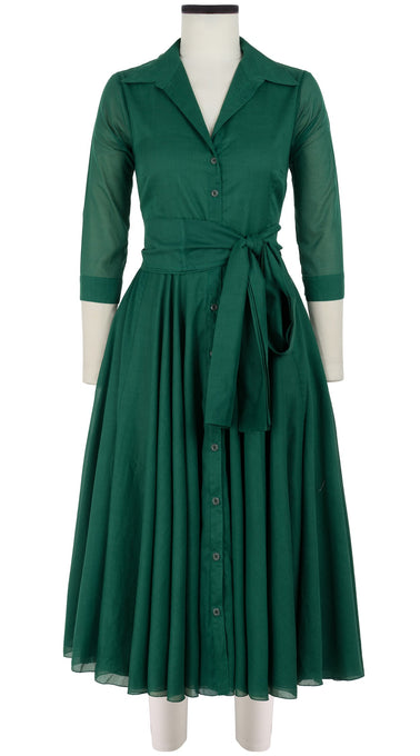 Aster Dress Shirt Collar 3/4 Sleeve Midi Length Cotton Musola_Solid_Ivy Green