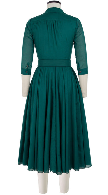 Aster Dress Shirt Collar 3/4 Sleeve Midi Length Cotton Musola_Solid_Jade