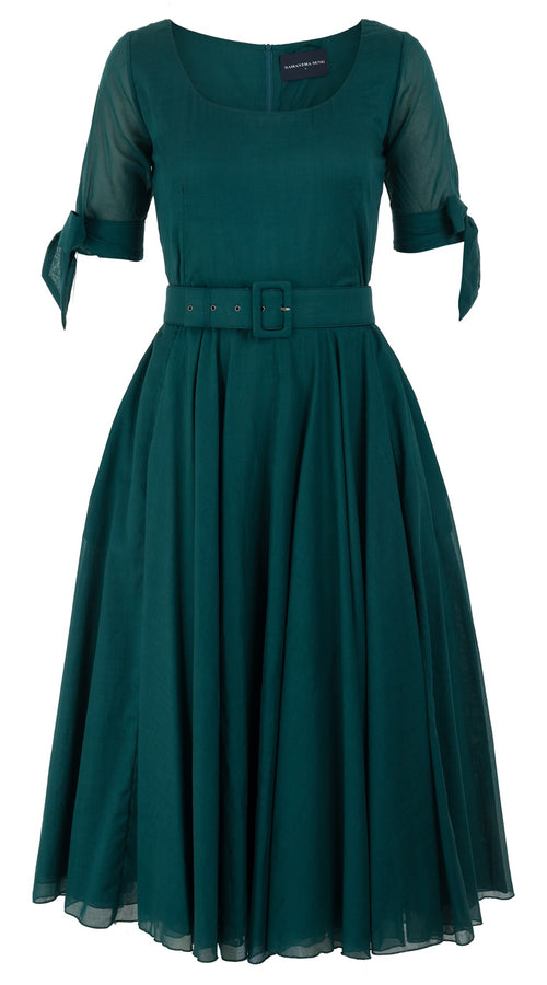 Aster Dress U Neck 1/2 Tie Sleeve Midi Length Cotton Musola_Solid_Jade