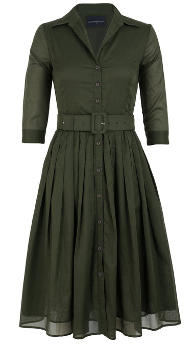 Audrey Dress #2 Shirt Collar 3/4 Sleeve Midi Length Cotton Musola_Solid_Khaki Green