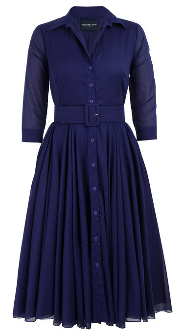 Aster Dress Shirt Collar 3/4 Sleeve Midi Length Cotton Musola_Solid_Marine Blue