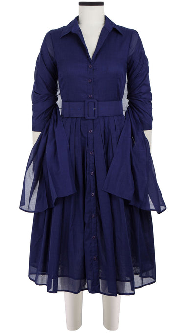 Audrey Dress #2 Shirt Collar 3/4 Sleeve Midi Length Cotton Musola_Solid_Marine Blue