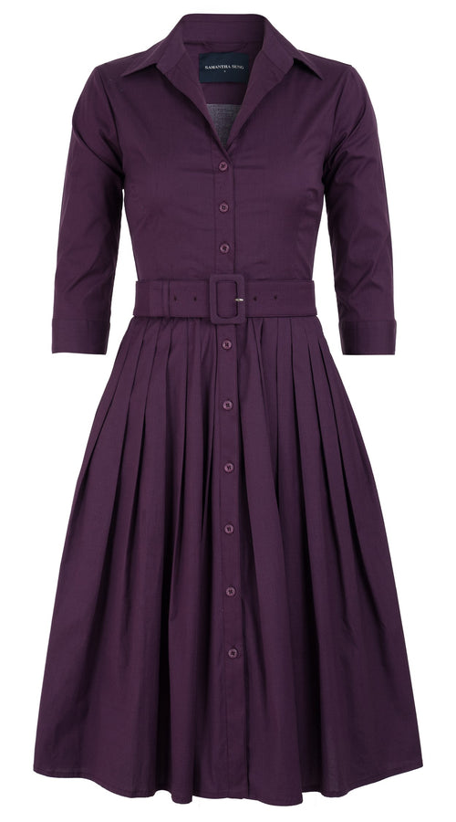 Audrey Dress #2 Shirt Collar 3/4 Sleeve Long Length Cotton Stretch_Solid_Plum