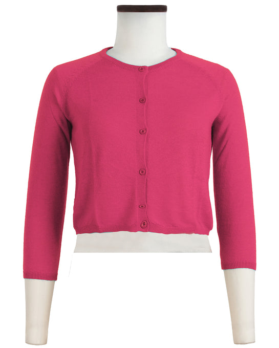 Lynette Cardigan Crew Neck 3/4 Sleeve Cashmere (Solid)