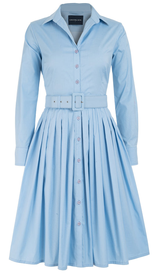 Audrey Dress #2 Shirt Collar Long Sleeve Cotton Stretch_Solid_Shirting Blue