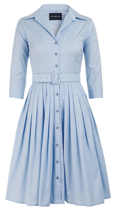 Audrey Dress #2 Shirt Collar 3/4 Sleeve Cotton Stretch_Solid_Shirting Blue