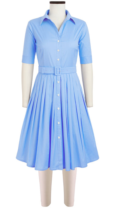 Audrey Dress #2 Shirt Collar 1/2 Sleeve Cotton Stretch (Solid Pastel)