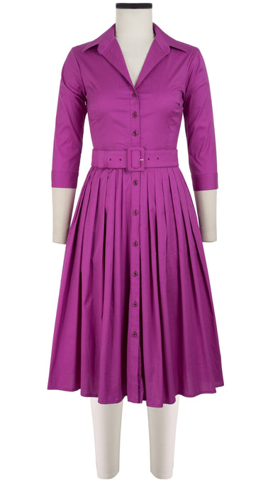 Audrey Dress #2 Shirt Collar 3/4 Sleeve Long Length Cotton Stretch_Solid_Taffy Pink