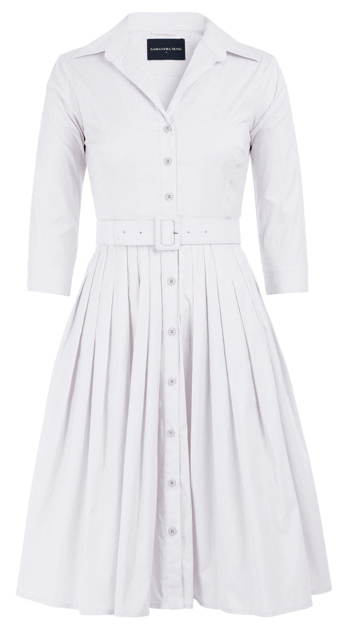 Audrey Dress #2 Shirt Collar 3/4 Sleeve Cotton Stretch_Solid_White