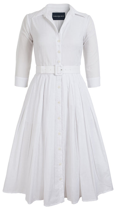 Audrey Dress #2 Shirt Collar 3/4 Sleeve Midi Length Cotton Musola_Solid_White