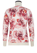 Charlotte Cardigan V Neck 3/4 Sleeve_70% Silk 30% Cashmere_Speckled Orchid White_White Red
