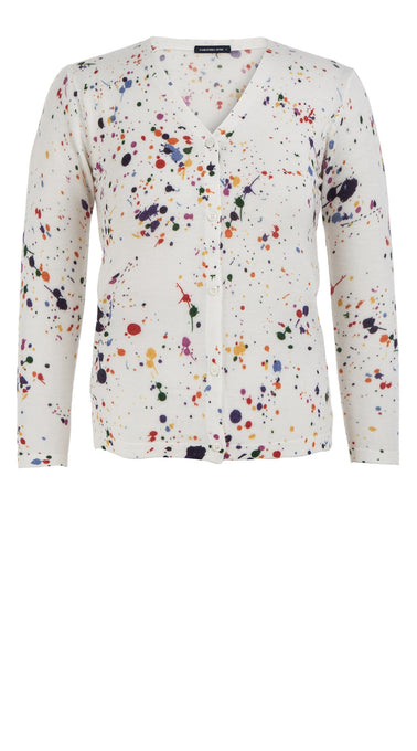 Charlotte Cardigan V Neck 3/4 Sleeve_70% Silk 30% Cashmere_Splash_White Multi