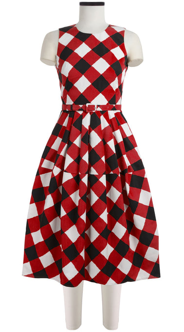 Rachel Dress Crew Neck Sleeveless Long Length Silk Cotton Ottoman (Sport Check)
