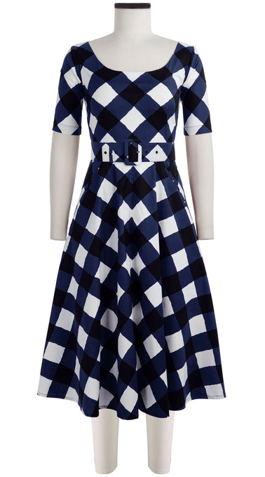 April Dress U Neck 1/2 Sleeve Midi Length Cotton Stretch (Sport Check)