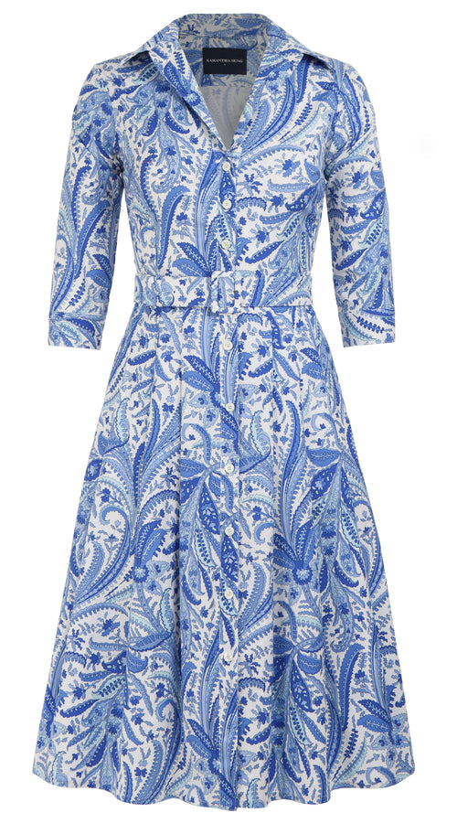 Audrey Dress #3 Shirt Collar 3/4 Sleeve Long Length Cotton Stretch (Summer Paisley)