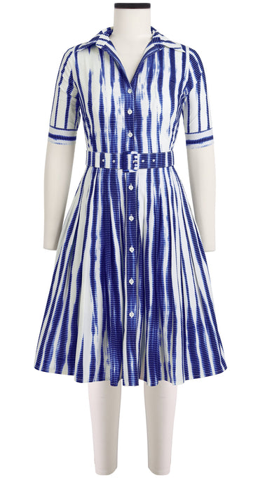 Audrey Dress #2 Shirt Collar 1/2 Sleeve Cotton Stretch (Tide Shibori)