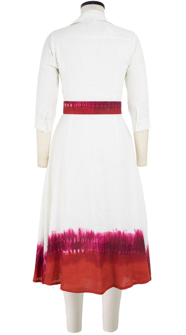 Abel Dress #3 Shirt Collar 3/4 Sleeve Midi Length Linen (Tie Dye Border White)