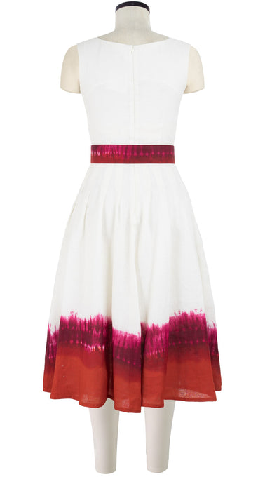 Florance Dress #3 Boat Neck Mini Cap Sleeve with Hamilton Belt Long Length Linen (Tie Dye Border White)