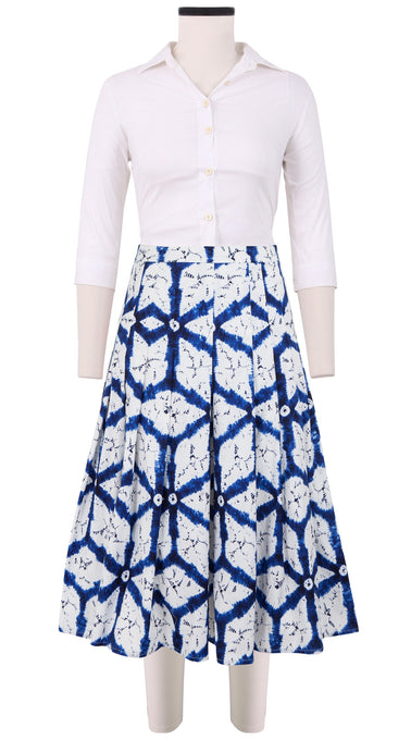 Zeller Skirt Long Length_Cotton Stretch_Todaji Shibori_White Cobalt Blue